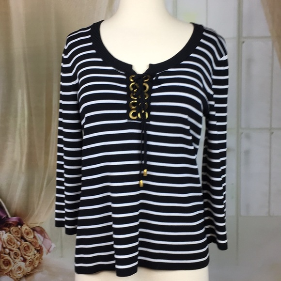 Cable & Gauge Tops - Cable & Gauge Black Striped Knit Top Long Sleeved